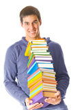 Jonge mens met boeken Stock Afbeelding