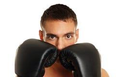 Jonge mens met boksers Royalty-vrije Stock Afbeelding