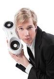 Jonge mens met boombox Royalty-vrije Stock Afbeeldingen
