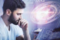 Jonge mens met cyberspace Royalty-vrije Stock Afbeeldingen