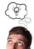 Jonge mens met de Bellen van de Toespraak over zijn hoofd Stock Afbeelding