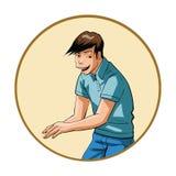 jonge mens met een sluwe grijns Stock Foto's