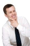 Jonge mens met een vriendschappelijke glimlach Stock Foto