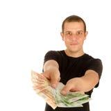 Jonge mens met euro bankbiljetten Royalty-vrije Stock Afbeeldingen