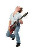 Jonge mens met gitaar het dansen Stock Afbeelding