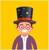 Jonge mens met glazen en een hoed op een gele achtergrond mannelijke tovenaarglimlachen Leuk karakter stock illustratie