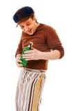 Jonge mens met groene fles royalty-vrije stock foto's