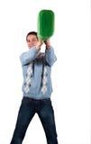 Jonge mens met groene jerrycan 3 Stock Afbeelding