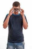 Jonge mens met het duiken masker. Het snorkelen, het zwemmen, vakantieconce Stock Afbeeldingen