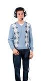 Jonge mens met hoofdtelefoon Royalty-vrije Stock Foto's