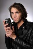 Jonge Mens met Microfoon royalty-vrije stock fotografie