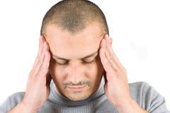 Jonge mens met migraine Royalty-vrije Stock Afbeelding