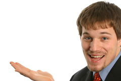 Jonge mens met ongebruikelijke uitdrukking op witte ruimte Stock Foto