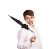 Jonge mens met paraplu stock afbeeldingen