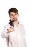 Jonge mens met paraplu royalty-vrije stock foto