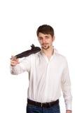 Jonge mens met paraplu royalty-vrije stock afbeeldingen