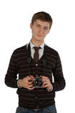 Jonge mens met retro camera Royalty-vrije Stock Fotografie