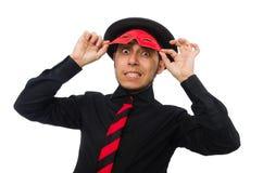 Jonge mens met rood die masker op wit wordt geïsoleerd Royalty-vrije Stock Afbeelding