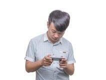 Jonge Mens met Slimme Telefoon stock foto's