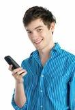 Jonge mens met telefoon Royalty-vrije Stock Afbeelding
