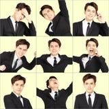jonge mens met verschillende emoties stock fotografie