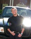Jonge mens met vrachtwagen Royalty-vrije Stock Afbeeldingen