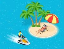 Jonge Mens op Jet Ski, Tropische Oceaan Creatief vakantieconcept De sporten van het water Pret in de oceaan, Extreme Sport, water Stock Fotografie