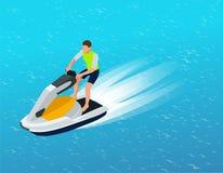 Jonge Mens op Jet Ski, Tropische Oceaan Creatief vakantieconcept De sporten van het water Pret in de oceaan, Extreme Sport, water Royalty-vrije Stock Foto