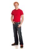 Jonge Mens in Rood Overhemd stock foto's