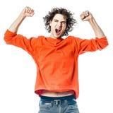 Jonge mens sterk het gillen gelukkig portret Stock Foto