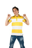 Jonge mens in t-shirt en jeans Stock Foto's