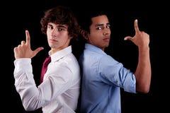 Jonge mens twee van verschillende kleuren, rijtjes Royalty-vrije Stock Foto's