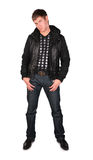 Jonge mens in zwart jasje Royalty-vrije Stock Foto's