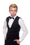 Jonge mens in zwart klassiek die vest op wit wordt geïsoleerd Stock Fotografie
