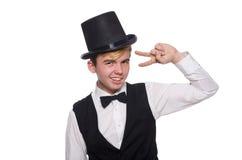 Jonge mens in zwart klassiek vest en geïsoleerde hoed royalty-vrije stock afbeelding