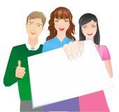 Jonge mensen met banner Royalty-vrije Stock Fotografie