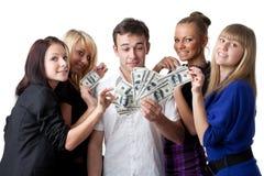 Jonge mensen met geld Royalty-vrije Stock Afbeeldingen