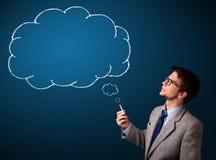 Jonge mensen rokende sigaret met ideewolk vector illustratie