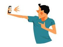 Jonge mensen selfie illustratie Stock Fotografie
