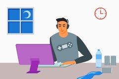 Jonge Mensen Speelspelen tot laat - nacht royalty-vrije illustratie