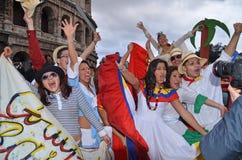 Jonge mensen tijdens Carnaval 2012 in Rome Stock Afbeelding