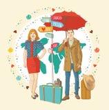 Jonge mensen in toevallige status met reiszak, h Stock Afbeeldingen