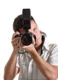 Jonge mensenfotograaf Royalty-vrije Stock Afbeeldingen
