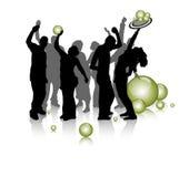 Jonge mensenpartij, silhouet Royalty-vrije Stock Afbeeldingen