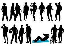 Jonge mensensilhouetten Stock Afbeeldingen