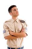 Jonge militair met gekruiste wapens royalty-vrije stock afbeelding