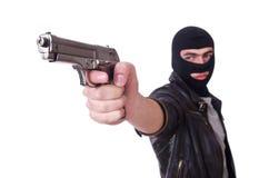 Jonge misdadiger met kanon Stock Foto