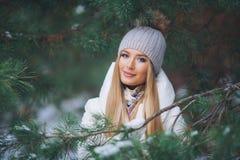 Jonge modelmeisjesgang in het de winterbos royalty-vrije stock fotografie