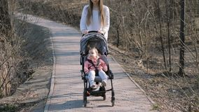 Jonge moeder die met een babymeisje lopen in wandelwagen in het park stock videobeelden