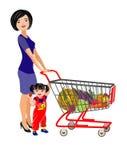 Jonge moeder en dochter met een boodschappenwagentje voor een supermarkt vector illustratie